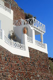 Stone greek house with white balcony, Santorini, Greece Stock Photography