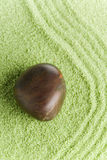 Stone on green sand Stock Photos
