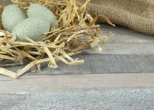 Stone Grey decoration eggs with straw on burlap over wooden background. Stone Grey decoration eggs with straw on burlap/hessian over natural wooden background royalty free stock photography