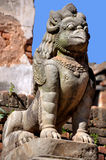 Stone Griffin. At Bhaktapur Durbar Square which is a UNESCO World Heritage Sites in the Kathmandu Valley in Nepal royalty free stock image