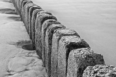 Stone groin closeup BW Royalty Free Stock Photography
