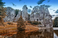 Stone group Externsteine near the city of Detmold, Germany. Stock Images