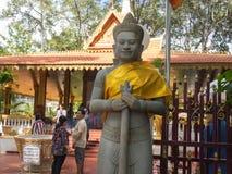 Stone guard of the Cambodian shrine Royalty Free Stock Photo