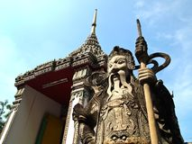 Stone Guard at Wat Pho with Blue sky Royalty Free Stock Photo