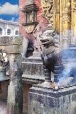 Stone Guardian at Changu Narayan Temple, Nepal Royalty Free Stock Photography