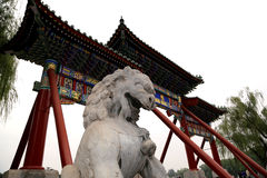 Stone Guardian Lion Statue in Beihai Park. Beijing, China Royalty Free Stock Images