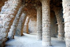 Stone hall in Park Guell Royalty Free Stock Photo