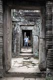 Stone hallway in Cambodia royalty free stock photography