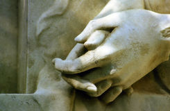 Stone hands. Hands of a cemetery statue in Leipzig, Germany Royalty Free Stock Photography
