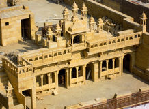Stone Haveli in Jaisalmer. Rotal residence (haveli) made of sandstone. These were usually given to nobility favored by the king Stock Images