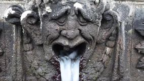Stone Head Fountain Detail Of Mensa Del Cardinale Villa Lante Italy stock footage