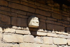 Stone head in the ruins of Chavin de Huantar, in Huascaran National Park, Peru Royalty Free Stock Photo