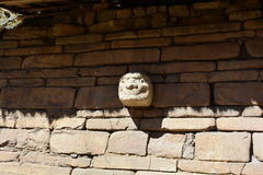 Stone head in the ruins of Chavin de Huantar, in Huascaran National Park, Peru Royalty Free Stock Photography