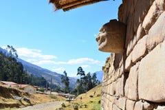 Stone head in the ruins of Chavin de Huantar, in Huascaran National Park, Peru Royalty Free Stock Photos