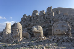 Stone head statues at Nemrut Mountain in Turkey Royalty Free Stock Photography
