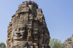 Stone head on towers of Bayon temple in Angkor Thom, Cambodia Stock Photo
