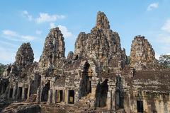Stone heads at ancient Bayon Temple Royalty Free Stock Image