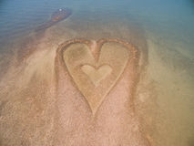 Stone heart on the beach. In Hong Kong Stock Photography