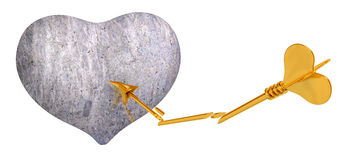 Stone heart with Cupid`s arrow 3d rendering. Stone heart with Cupid`s arrow, isolated 3d rendering Stock Image