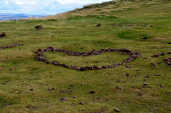 Stone Heart Design on Carlton Hill in Edinburgh Royalty Free Stock Photo