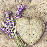 Stone heart. Image of a heart moulded out of concrete with lavender Stock Images