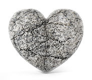 Stone heart isolated on white background. 3D illustration.  Royalty Free Stock Photo