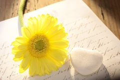 Stone heart with letter and flower Stock Photography