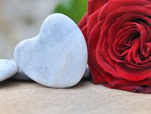Stone heart  and red rose Stock Image