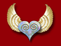 Stone heart w/wings. 3-D heart made of stone with golden wings vector illustration