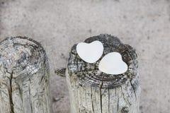Stone Hearts At The Beach royalty free stock photography
