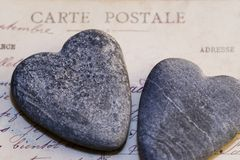 Stone Hearts and Postcard Royalty Free Stock Photo