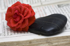 Stone hearts with red rose Stock Photo