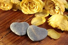 Stone hearts with roses Stock Photos