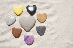 Stone Hearts in the Sand Royalty Free Stock Image