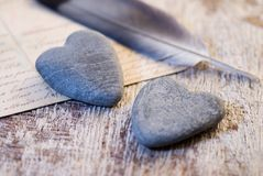 Stone hearts still life royalty free stock images