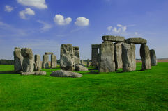 Stone Henge. With blue sky and green grass and no people Royalty Free Stock Image