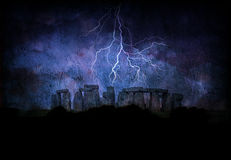 Stone henge lightning Stock Photo