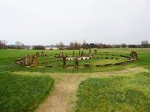 Stone Henge Milton Keynes. Standing stones set as a place of worship and religion in Milton Kynes royalty free stock image