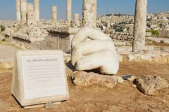 Stone Hercules hand at the antique Citadel in Amman, Jordan. Stock Image