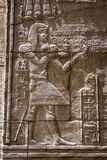 Stone Hieroglyphic Carvings at Philae Temple. In Jordan royalty free stock photography