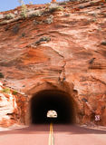 Stone Highway Tunnel Red Roadway Zion Park Highway Royalty Free Stock Images
