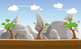 Stone hill illustration. Stone hill and mountain in the forest Stock Images