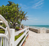 Stone hill walkway to the Hua Hin  beach, Thailand Stock Images