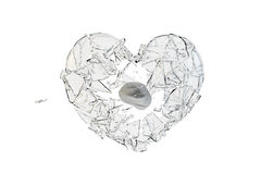 Stone hit  glass heart-shaped Royalty Free Stock Photography