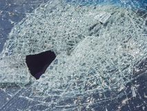 Stone hits of  a windshield. Fragmented windshield of a passenger car after a traffic accident Stock Images