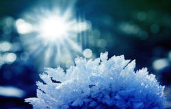Stone with hoar frost and ice crystals, bright sunshine Stock Photos