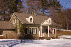 Stone Home. Stately stone home with deer in the backyard Stock Photography
