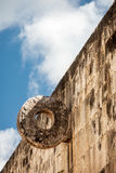 Stone Hoop at the Great Ball Court i Chichen itza Stock Images