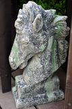 Stone horse head sculpture. stock images