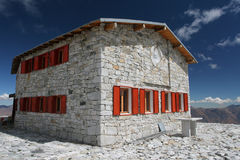 Stone house. Newly constructed chalet stock image